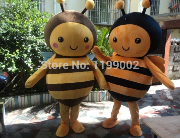 Взрослый размер MASCOT костюм пчелы, милый пчела-талисман 2 шт. Бесплатная доставка