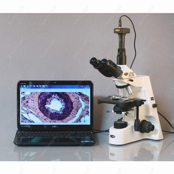 Microscope à champ noir-AmScope fournit 40X-2500X Microscope à champ noir trinoculaire Kohler à Plan infini professionnel