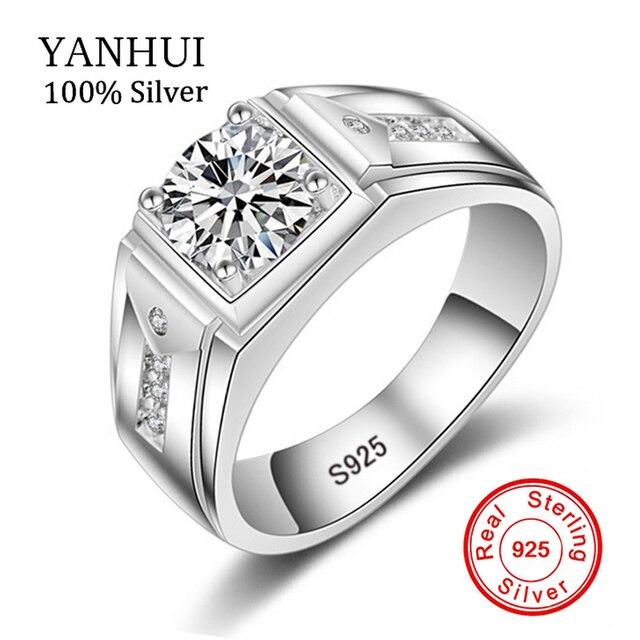 Yanhui Luxus Mode Mann Hochzeit Ring 100 925 Sterling Silber Ring 1