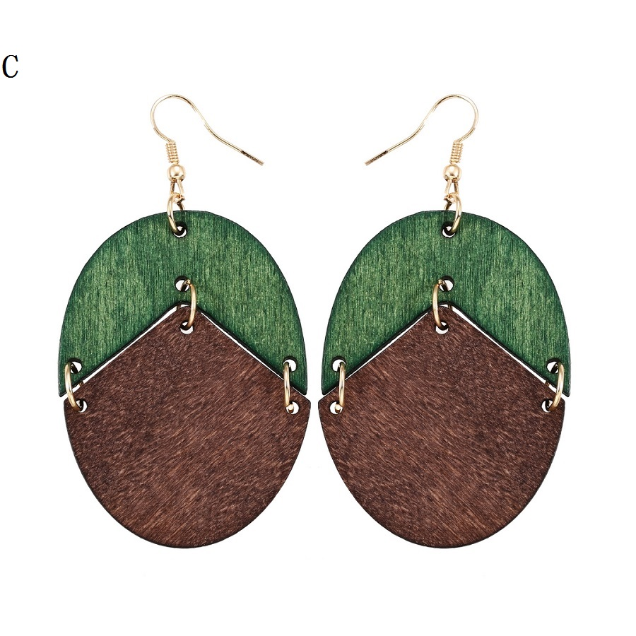 YULUCH 18 New Design Natural Wooden Earrings Two Colors Oval Wooden Earrings DIY Gold Hook Earrings For Woman Girls Jewelry 4