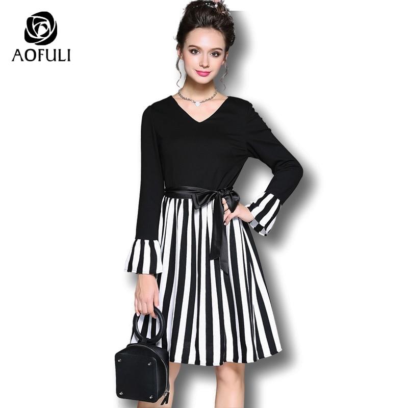 AOFULI Plus size black white dress Autumn V neck long sleeve stripe patchwork dresses flare sleeve
