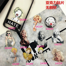 Acrylic Badge  Marilyn Monroe costumes BadgeAccessory for Scarf Pin Up Elegant lady Collar Punk XZ07