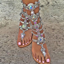 women sandal 2017 fashion summer women shoes sandals with rhinestones sandalia feminina women shoes plus size 47 Crystal