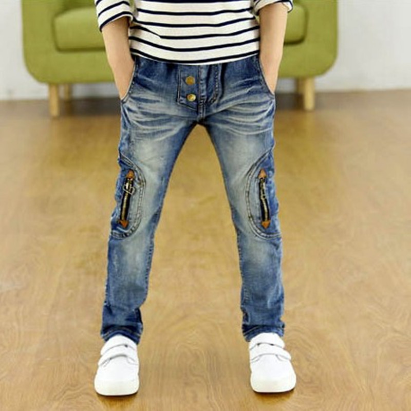 Kids Clothing 2019 New Spring Autumn Children Pants Boys Trousers Fashion Gun Cotton Pencil Pants Zipper Leggings Boy Wild Jeans(China)