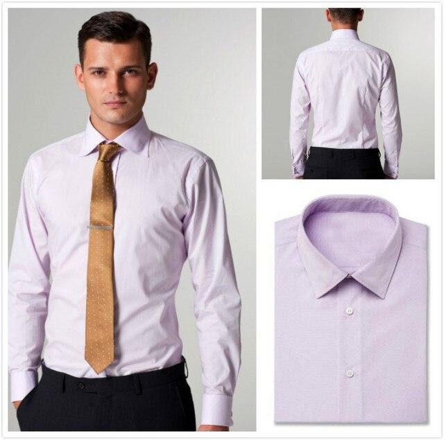 Новый прибытия 100% хлопок твердые фиолетовый с воротником и манжеты кнопку мужская рубашка