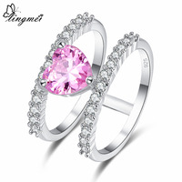 lingmei New Heart Red & Pink White CZ Silver Color Ring Size 6 7 8 9 Romantic Wedding Women Jewelry Lovers' Gift Christmas Party