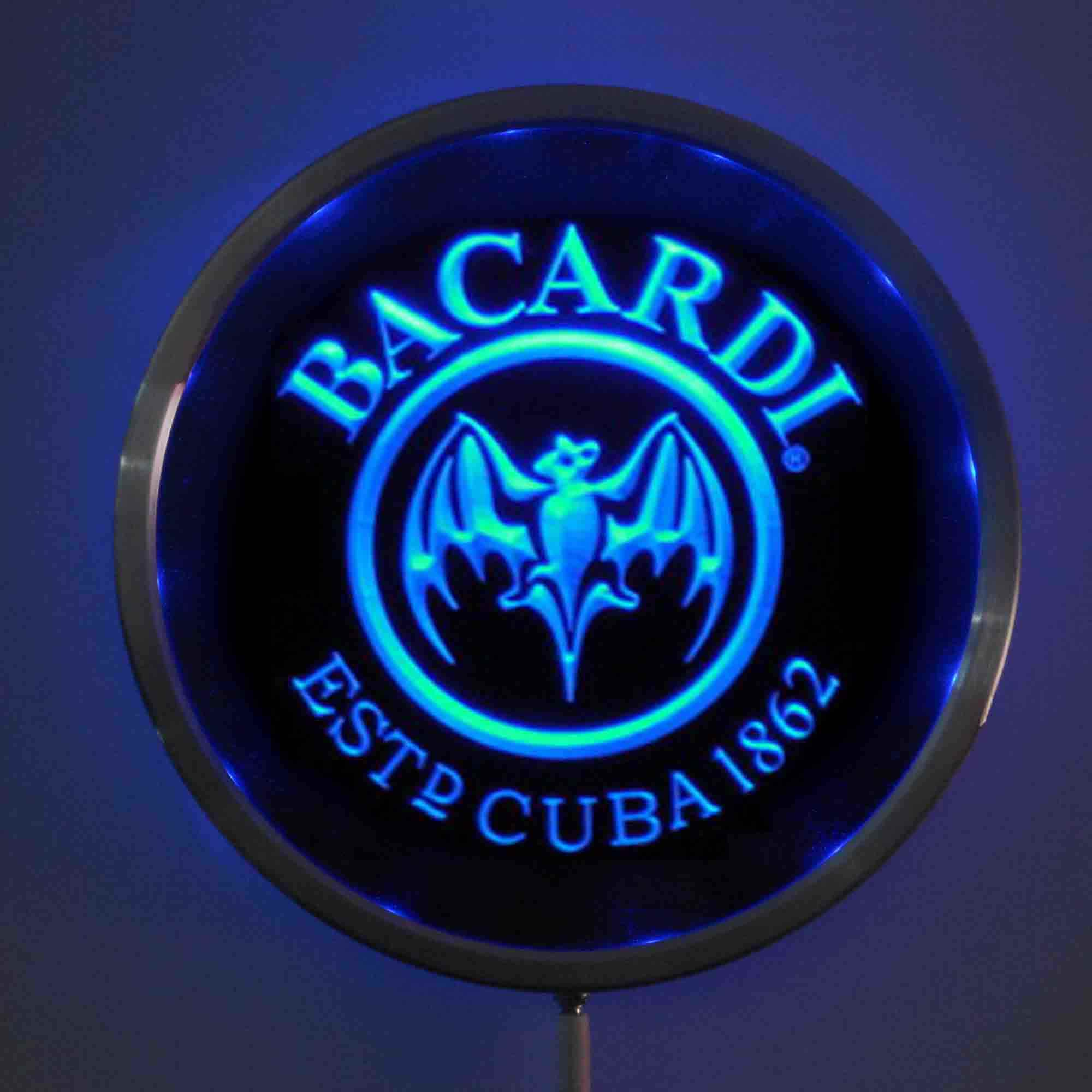 rs-a0078 Bacardi LED Neon Light Round Signss 25cm/ 10 Inch - Bar Signs with RGB Multi-Color Remote Wireless Control