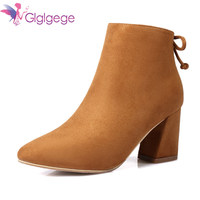 Glglgege Brand Women Boots Female Winter Shoes Woman Warm Ankle Boots Fashion Square High Heels Boots Black Brown Boots