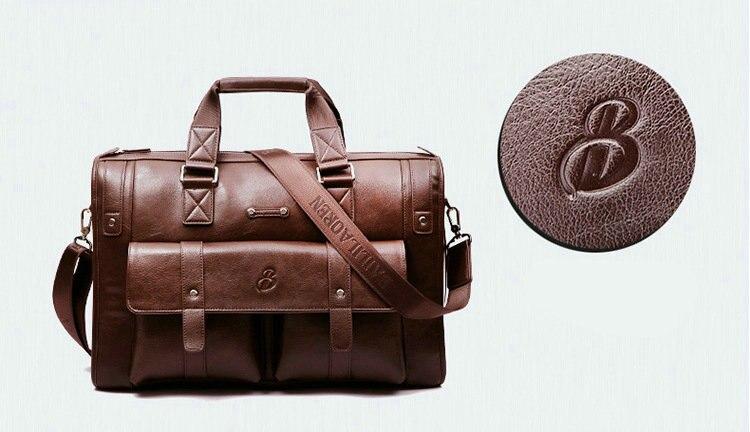 2019 Men Leather Black Briefcase Business Handbag Messenger Bags Male Vintage Shoulder Bag Men's Large Laptop Travel Bags Hot