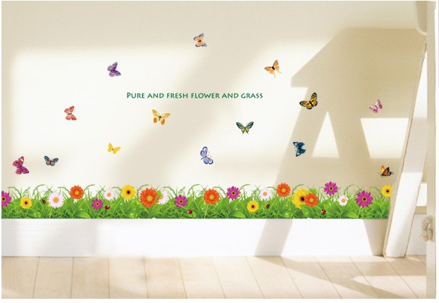Kitchen decoration removable wall sticker kawaii skyrim for Butterfly garden mural
