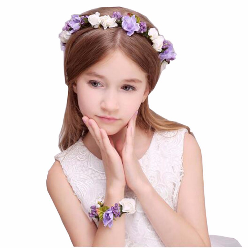 2pc/set Fashion white bride wedding wreath head flowers wrist flower ...