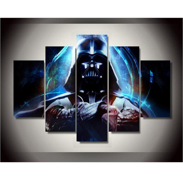 Framed Printed Star Wars 5 Piece Picture Painting Wall Art Children's Room Decor Poster Canvas Free shipping