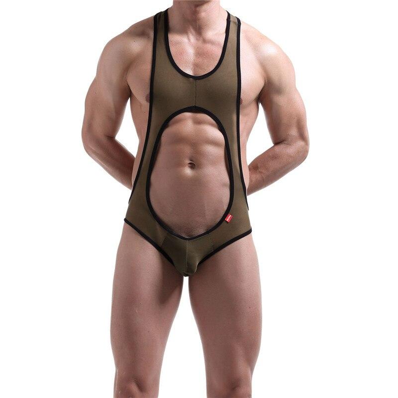 Mens Undershirt Sexy Mesh Open Back Guze Wrestling Singlet Underwear Transparent Men Bodysuit Undershirt Male U-convex Jumpsuit