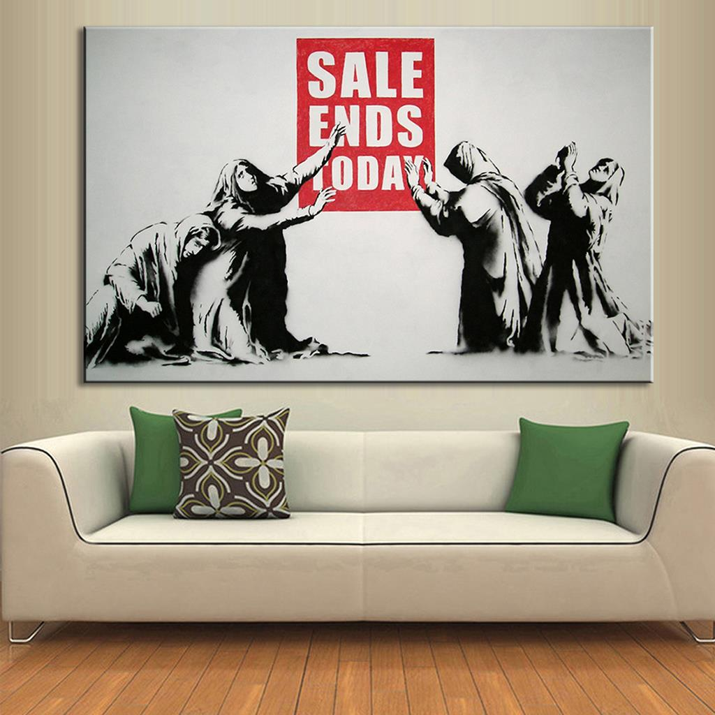 1 pcs banksy art sale ends today print on canvas painting for Wall art for sale