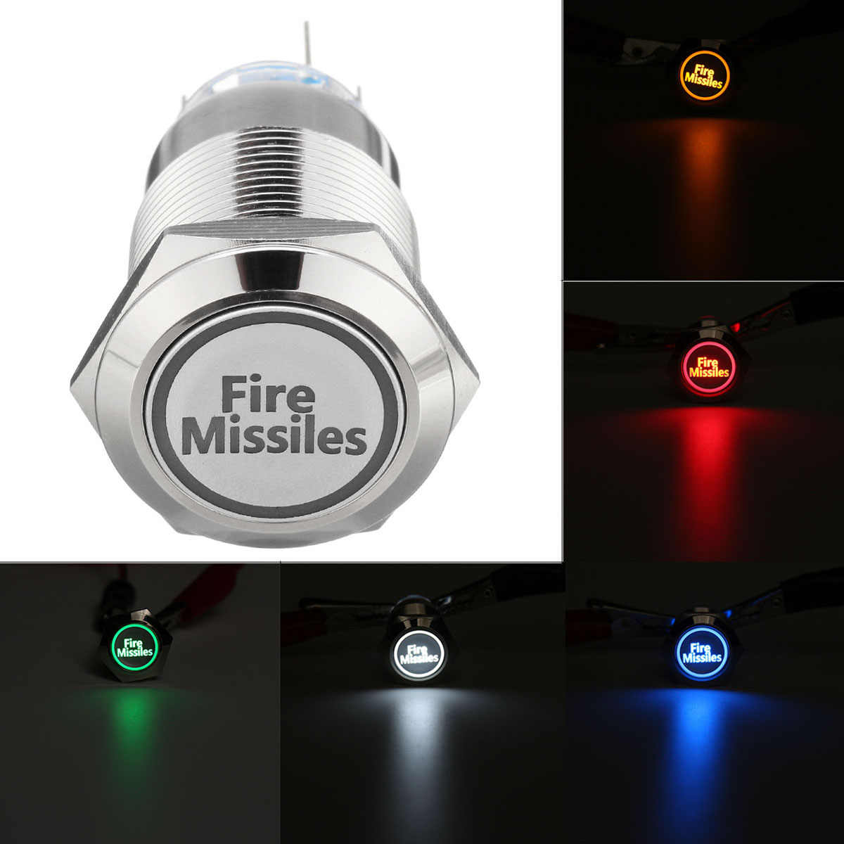 Detail Feedback Questions About 12v 19mm Car Led Push Button Switch Dc 24v Selflock Light Momentary Latching 5 Pin For Fire Missiles Silver Metal
