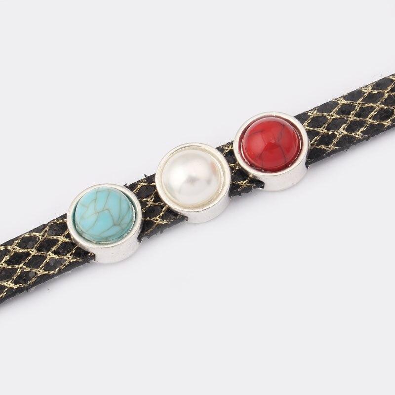 10 pièces Antique couleur argent 10mm plat en cuir curseur entretoise pour 5mm 10mm plat en cuir Bracelets et Bracelets résultats de bijoux