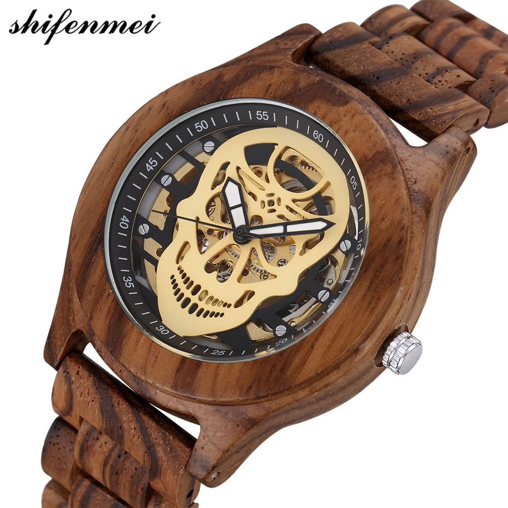 Brand Watch Unique Men's Mechanical Wooden Watches Skeleton Skull Design Dial Bracelet Clasp Luxury Watch High Quality 2018 tigergrip rubber non slip chef shoe cover flat men and women safety shoes covering lab nursing shoes waterproof overshoes
