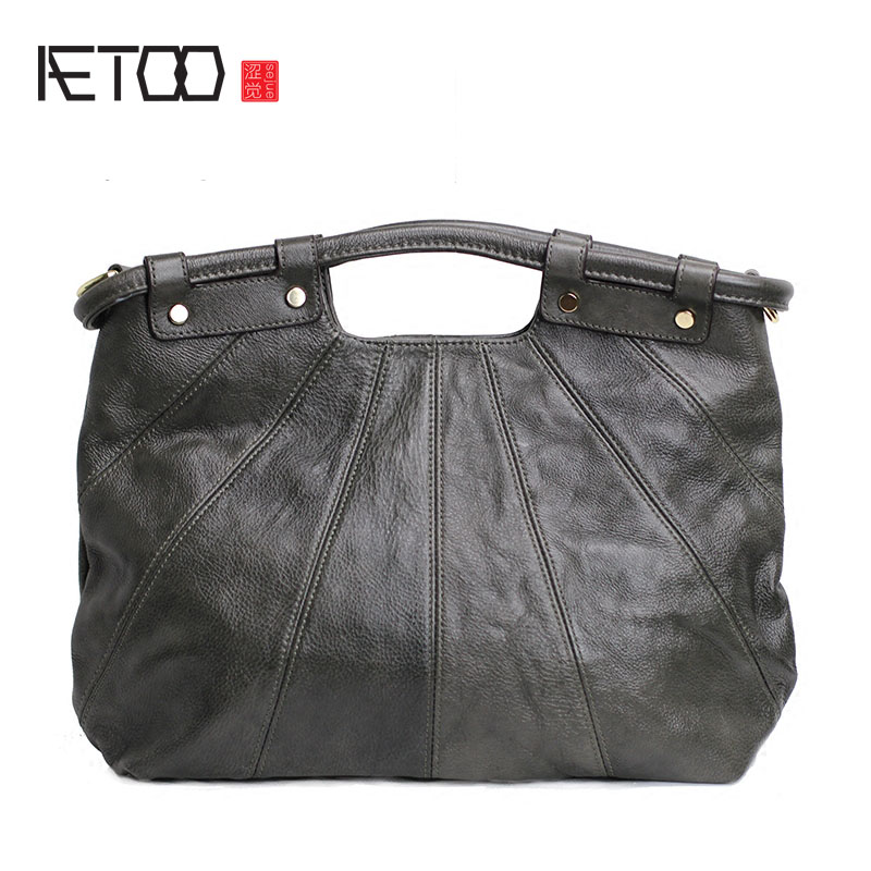AETOO Europe and the United States leather handbags pure leather simple atmospheric hand carry bag leather soft leather temperam europe and the united states simple geometric pattern hand bag head layer of leather in the long wallet multi card large capacit