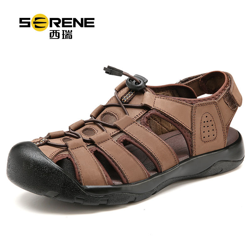 Serene Genuine Leather Mens Sandals Breathable Summer Lace-up Beach Shoes Men Casual Mens Sandals 2018 New Mens Sandal Brands