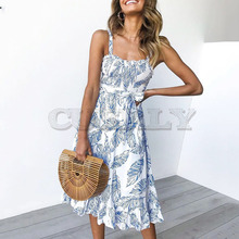 Cuerly Sexy strap leaves print ruffle long dress women Summer elegant beach bow sashes maxi Casual cute female sundress L5