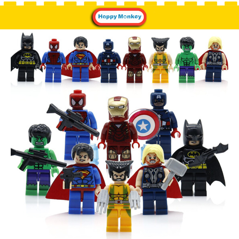 Super Heroes Single Sale Marvels DC Avengers Building Blocks Batman Spiderman Guardians of LegoINGlys X man flash Toys Figures