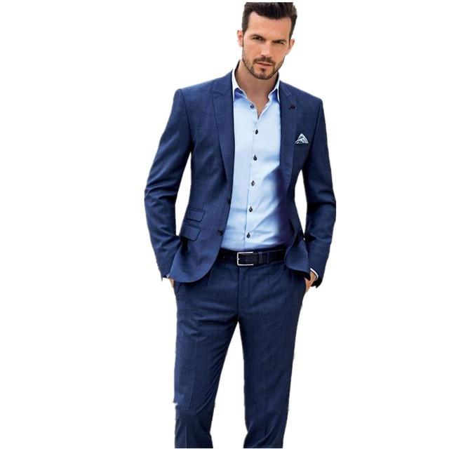 Nuovi abiti da Uomo Custom Made Due Bottoni Smoking Blu Business Casual  Partito Vestito Convenzionale Vestito