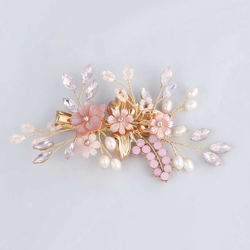 Gorgeous Handmade Golden Crystal Freshwater Pearls Flower Leaf Wedding Hair Clip Barrette Bridal Headpiece Hair accessories lysumduoe headband black hairpin women clip s shape barrette girl hairgrip hairgrips children hairpins jewelry hair accessories