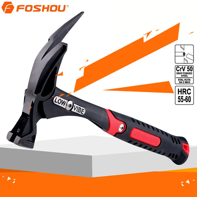 FOSHOU 13 Inch Shockproof Nailing Claw Wood Hammer Rubber Handle Roofing  Claw Horns Hammers
