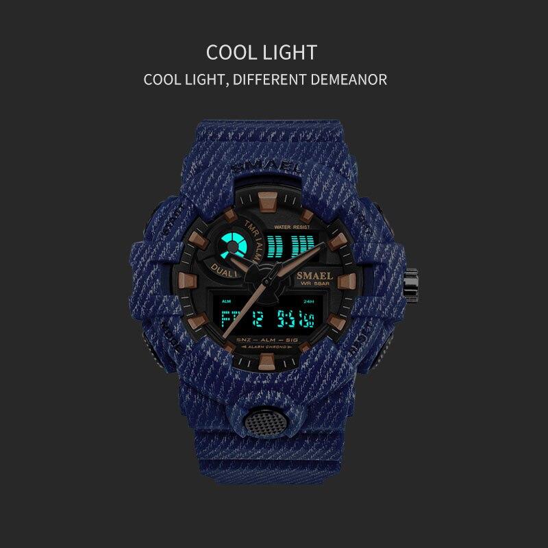 Мужские спортивные наручные часы SPOVAN, спортивные часы из натуральной кожи с компасом/Pacer/водонепроницаемой светодиодной подсветкой - 4