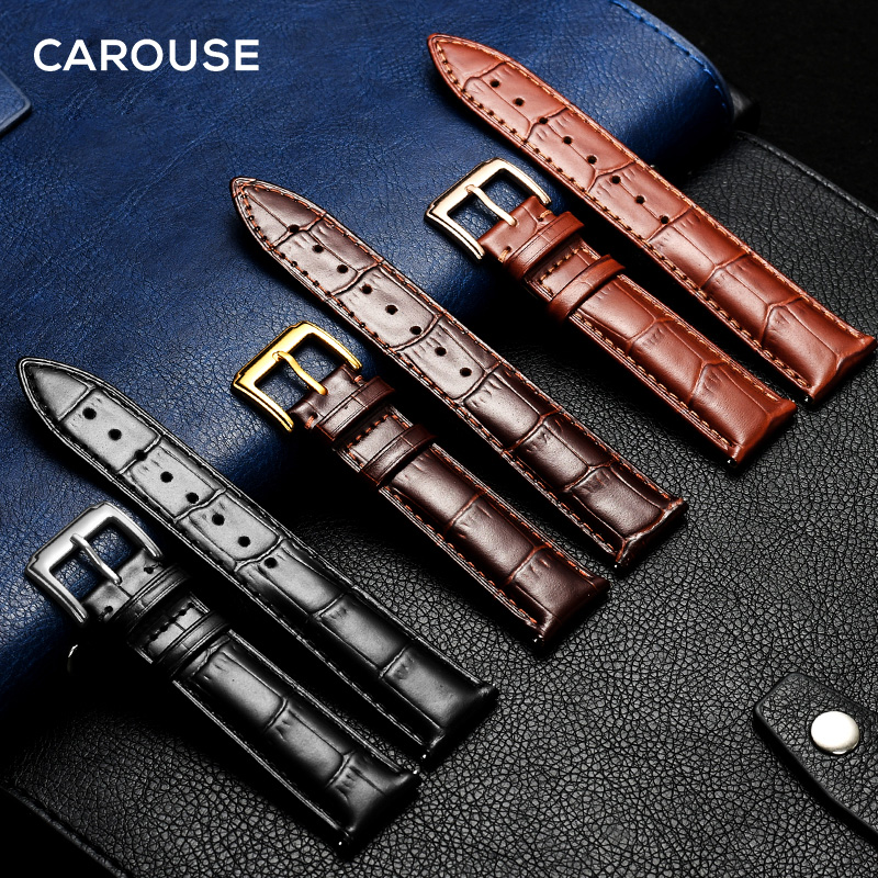 Carouse Watchband Black Real Leather Strap 14mm 16mm 18mm 19mm 20mm 21mm 22mm Watch Band Bracelet Metal Pin Buckle wristband new arrival handmade blue cowhide leather watchband strap 16mm 18mm 20mm 22mm watch accessories rosegold buckle metal clasp