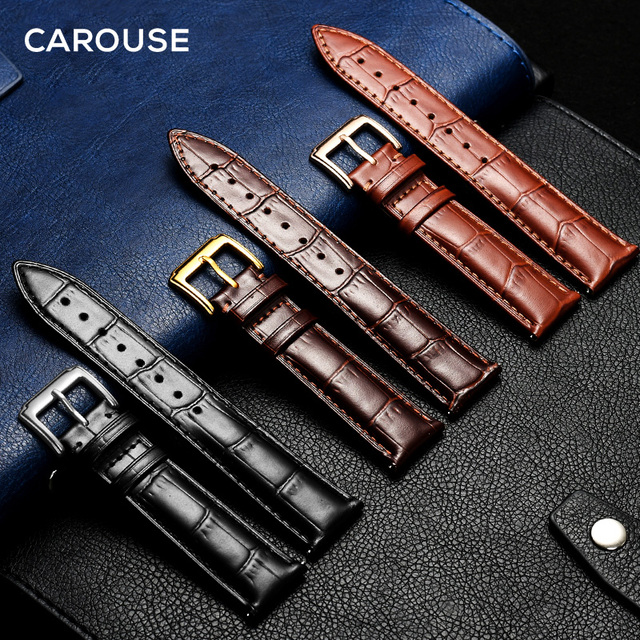 Carouse Watchband Black Real Leather Strap 14mm 16mm 18mm 19mm 20mm 21mm 22mm Wa