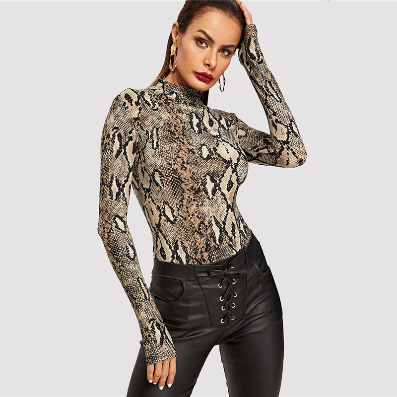 Snake Print, High Neck, Casual Bodysuit, Women's Long Sleeve Bodysuit, Fashion Vintage Bodysuit 12
