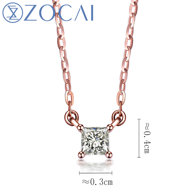 Gargantilha Projeto ZOCAI 0.09 CT Certified H/SI Diamond Link Colar 18 k Ouro rosa (Au750) D80009T - 2
