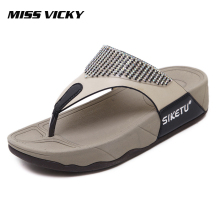 MISS VICKY 2019 New Summer Casual Womens Flip-Flops Thick-soled Outdoor Slippers Beach Shoes