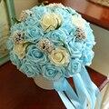 8 цвета голубой искусственные цветы свадебные букеты 2016 пластиковые розы, Романтический свадебный брошь букеты Accessies P2