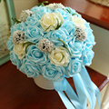 8 Colors Sky Blue Artificial flowers Wedding Bouquets 2016 Plastic Roses,Romantic Wedding brooch bouquets Wedding Accessies P2