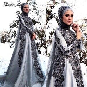 Image 1 - Vestidos de Noche grises y musulmanes hiyab de manga larga, vestido árabe para baile de graduación, apliques de Dubái con cuentas para mujer, vestidos formales de fiesta de boda 2019