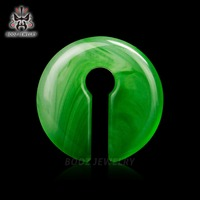 10mm Pair Selling Stone Plugs Ear Tunnels Piercing Gauges 2pcs Lot Green Earrings Expander Free Shipping
