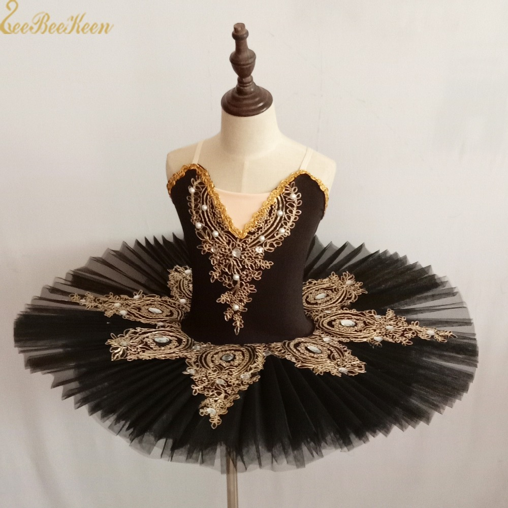 Girl Ballet Dress Lake Swan Tutu Ballet Women Dance Dress Gold Lace Ballerina Diamond Adult Ballet Tutu Performance Costume
