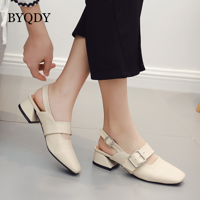 BYQDY 2018 Spring New Women Pumps Square Toe Buckle Female Mary Janes Shoes Fashion Thick High Heels Office Ladies Single Shoes new spring fashion brand genuine leather sweet classic high heels women pumps shallow thick heel mary janes lady causal shoes
