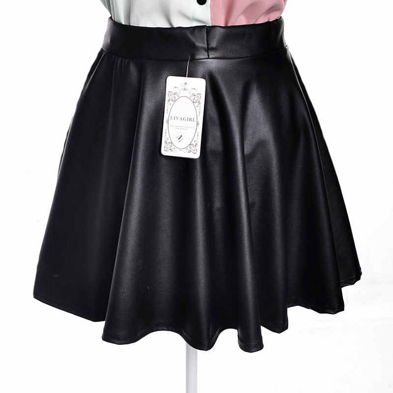 Falda plisada 2018 primavera y verano nuevo coreano pu cuero faldas  elástico cintura mini Delgado salvaje fca2498cd5a0
