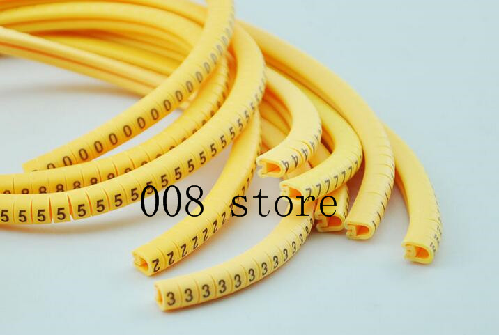 500PCS EC-0 Cable Wire Marker 0 to 9 For Cable Size 1 sqmm Yellow