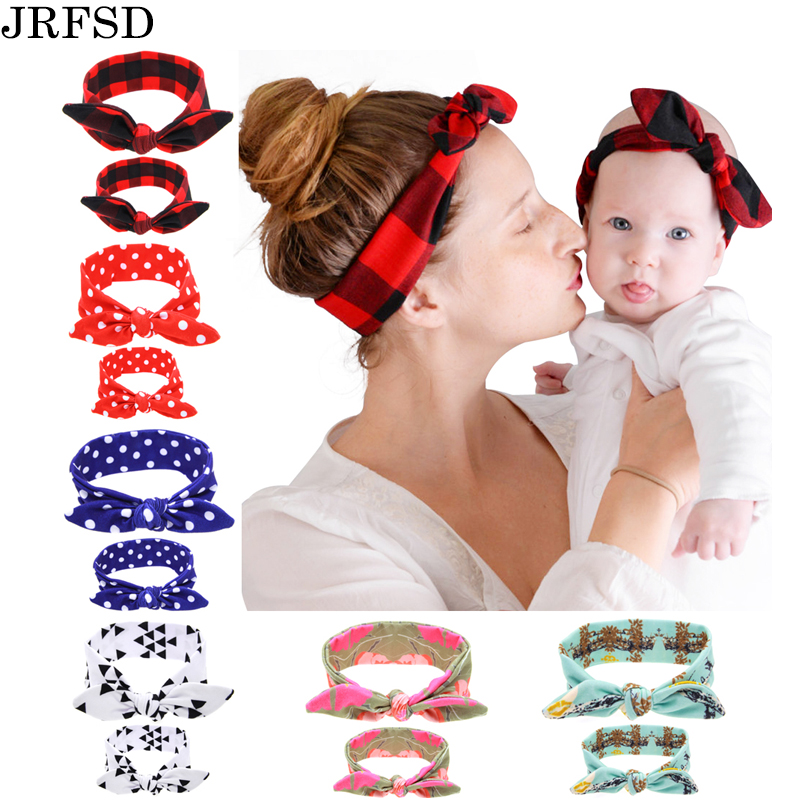 JRFSD 2PC/Set Mom Kid Elastic Ears Hair Bands Tie Bow Headband Hair Knot Bow Cotton Headbands Hair Accessories For Women H1 1pcs cotton tie back headbands stretch sports sweatbands hair band moisture wicking workout bandanas running men women bands