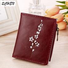 Women Wallets Oil Wax Cowhide lady Plum blossom Coin Purse Clutch Hasp Open Quality Retro Short Wallet fashion 241