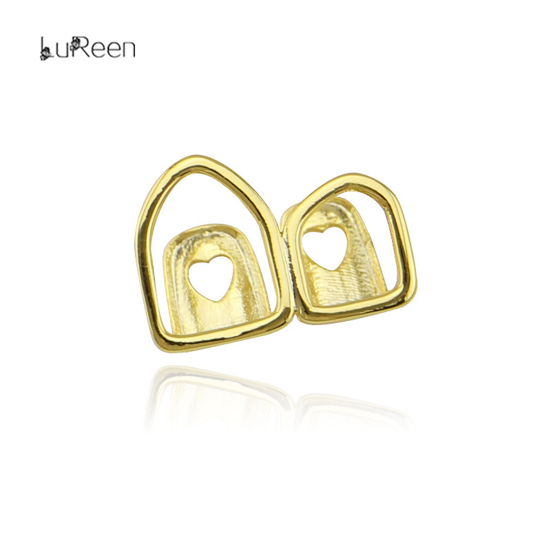 LuReen Gold Teeth Grillz Hollow Open Double Gold Tooth Caps Fake Grills for Teeth Hip Hop Rapper Jewelry Cosplay Party