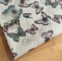 ZY Beautiful 100x145cm All Olver Flying Butterfly Cotton Linen Fabric Vintage Quilting Patchwork Tilda Fbric Sewing