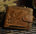 Cattle Men male Horizontal design vintage crazy horse Genuine leather Credit Card Cash Wallet Purse  9988