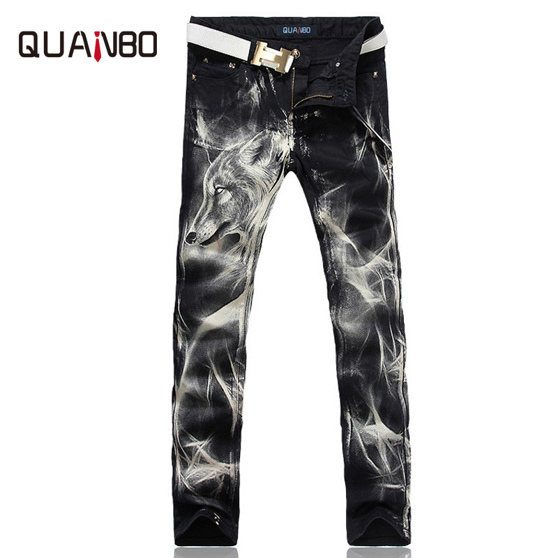 2018 New fashion Men's wolf printed   jeans   men slim straight Black stretch   jeans   high quality designer pants nightclubs singers