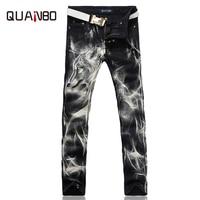 2018 New fashion Men's wolf printed jeans men slim straight Black stretch jeans high quality designer pants nightclubs singers