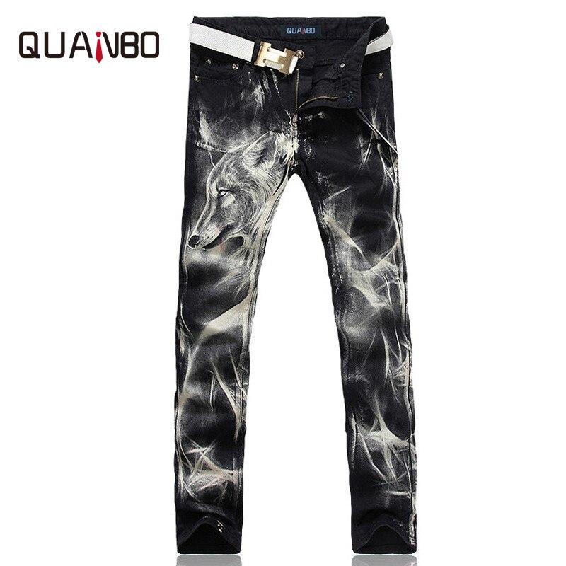 2019 New Fashion Men's Wolf  Printed Jeans Men Slim Straight Black Stretch Jeans High Quality Designer Pants Nightclubs Singers